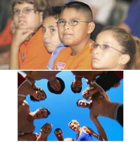 Two photos: (top) Four young students sit together and look like they are thinking and focusing on something outside of the image. (bottom) View looking up into a huddle of nine students in a team circle.