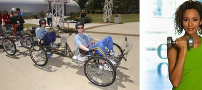 """Two photos: (left) Three people pedal a human-powered land rover – a """"moonbuggy."""" (right) In one hand, a girl holds a barbell at her shoulder level."""