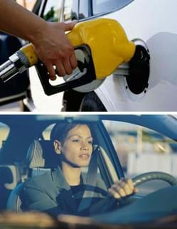 Two photos: (top) A hand holds a nozzle that pumps gasoline into a car's tank. (bottom) A woman driving a car with her hands on the steering wheel.