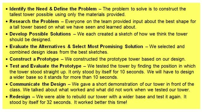 Design Step 1 Identify the Need Activity teachengineeringorg – Engineering Design Process Worksheet