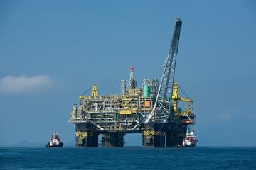 The P-51, a Brazilian oil platform, out in the ocean drilling for oil.