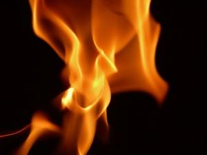 A zoomed-in image of burning flames.