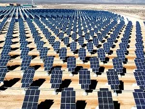 The Nellis Solar Power Plant containing about 70,000 solar panels generating 14 megawatts of solar power located within Nellis Air Force Base, northeast of Las Vegas, Nevada, United States.
