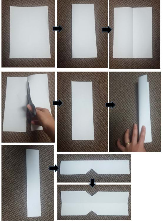 A series of nine photos linked by arrows show the steps to fold and cut a piece of copy paper in half lengthwise, then further cut it to notch out triangles from the middle of each of its long sides.