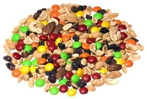 Trail mix scattered on a surface.