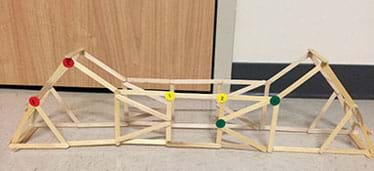 A photograph shows a truss structure made from Popsicle sticks glued together at their corners so it is a very open and angular, forming a long yet narrow bridge shape. Two small round stickers are attached at the corners of three types of polygons to identify target angles, which are measured before/after compression load testing for deformation.