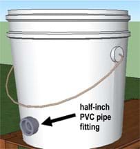Drawing shows a white plastic bucket with a short pipe cut into one side near the bottom of the bucket.
