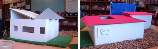 Two photos: (left) A rectangular foam core board model home with three windows and a combination shed and gable roof. (right) Two attached rectangular foam core board model buildings with deep overhanging flat roofs, surrounded by pebbles and Astroturf.