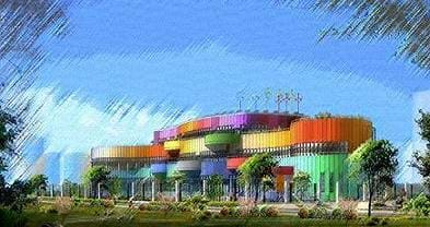 Artist's sketch of a colorful building with modern architecture, designed to be an energy-efficient building for the Beijing Olympics Village.