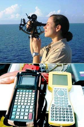 Two photos: A woman at sea looks into the lens of a black, metal hand-held device. Two different types of GPS receivers, hand-held devices with many buttons and small display screens.