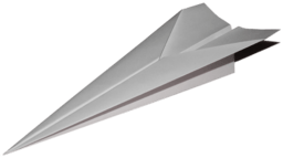 A drawing of a simple folded paper airplane.
