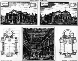 Pen and ink drawings show two floor plans, and three perspectives of a cavernous interior room and the building exterior from two different angles.