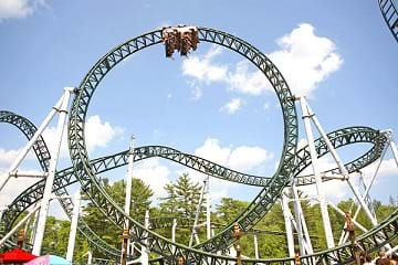 A rollercoaster at Canobie Lake Park.
