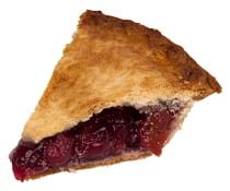A photograph of a piece of pie with cherry filling.