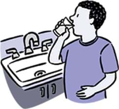 A drawing of a person drinking a cup of water next to a sink