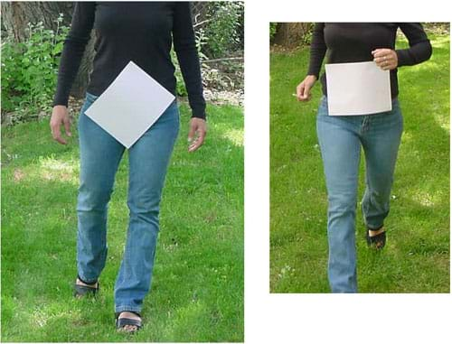 Photographs of a person walking with the paper falling off of her body and a person running with the paper staying pressed against her body.