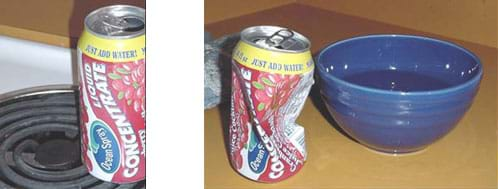 Two photographs show an aluminum can being heated on a the coiled burner of an electric stove and the same can collapsed after it was inverted over a bowl of cold water.