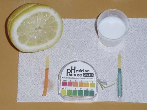A photograph shows a pH indicator that has turned red from a lemon and a pH indicator that has turned blue from milk.