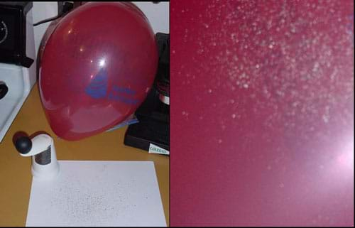 Two photographs. One shows an inflated balloon and black pepper flakes on a sheet of white paper. The other shows pepper specs on the surface of a red balloon.
