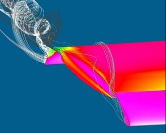 A colorful drawing shows a computer simulation of a wing moving through the air.  A vortex is extending off the edge of the wing, which demonstrates the induced drag at the tip of a aircraft wing.