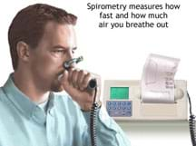 Photo shows a man with his nose pinched closed breathing into a tube connected to a machine with a display and paper printout.