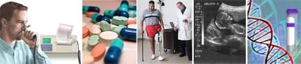 Five images: man blowing into a spirometer, assorted pills and tablets, man taking a step with his artificial leg, black and white sonogram shows shape of fetus, drawing of DNA double helix.