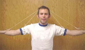 Photo shows two pieces of string tied to the arms and elbows of a person and stretched over the top of his head forming two A shapes.