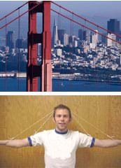 Top photo shows tower and A-shaped cables of the Golden Gate Bridge. Bottom photo shows two pieces of string tied to the arms and elbows of a person and stretched over the top of his head forming two A shapes.