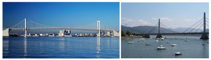 (left) Photo shows a long bridge with two towers spanning a river. Cables make an M shape. (right) Photo shows two sets of fan-shaped cables attached to two towers. Cables make an A shape.