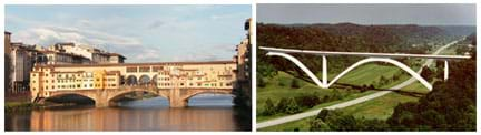 (left) Photo shows a bridge that uses three arches to span a river. (right) Photo shows a gigantic modern double-arched bridge that spans a wide valley.