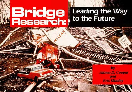 "Book cover titled, ""Bridge Research: Leading the Way to the Future,"" with image of twisted metal, and destroyed bridge materials and vehicles."
