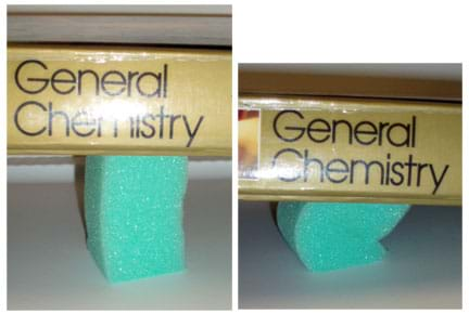Two photos show a foam column (left) at full height, and (right) bent and compressed under the weight of a book.