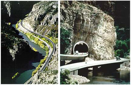 (left) Photo shows two roadways along a curving river at the base of a steep canyon. (right) Photo shows two elevated beam and column stretches of concrete highway, one spans part of a river, and the other heads into a tunnel.