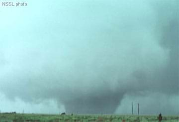 A photo showing a classic wedge tornado in Shamrock, Texas, in 1977.