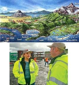 Two images: A colorful drawing of the many different landforms on planet Earth. Illustrated is a diverse landscape with tall mountains, volcanoes, and many islands in the ocean. Labeled are a volcano, lake, plateau, mesa, cape, mountain, glacier, river, ocean and delta. A photograph shows a female and male engineer standing before a building under construction in the background.