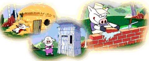 An illustration of the three little pigs and their straw, wood and brick houses.
