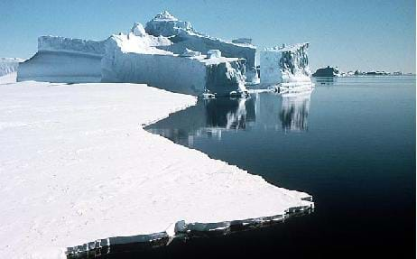 A photograph of an iceberg in the Antarctic.