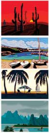 Four images show different climates: beach, mountain top, rain forest, river.