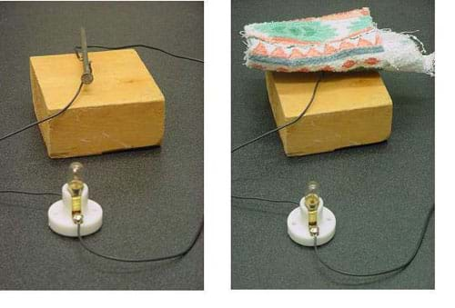 Two photos: On the left, a switch made with a nail placed across the two switch terminals (nails in wood) closes the simple switch circuit; the light bulb is lit. On the right, a switch made with a piece of cloth placed across the two switch terminals does not close the circuit; the light bulb is not lit.