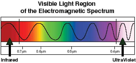 A diagram shows a black line shaped like a wave of varying amplitude over a rainbow color spectrum. At the far left is infrared light and at the far right is UV light.