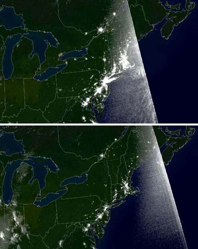 Two night images of the northeastern U.S. and Canada show a concentration of bright lights along the eastern seaboard, and much darkness in the same area in the second photo.