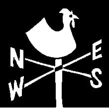 Black/white graphic of north-south and east-west directional weather vane with a chicken on top.