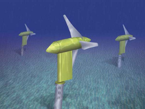 Generated image of three, three-pronged propeller turbines under water.