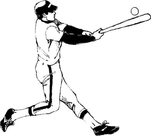 A black and white drawing of a baseball player in a ready swinging stance, as he prepares to hit a baseball.