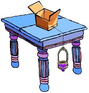 A drawing of a box resting on top of a table with a piece of fishing line tied around it. From the box, the fishing line drapes off the side of the table and is tied to a basket that hangs below the edge of the table.