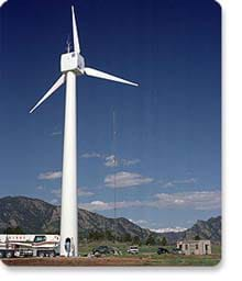 A photograph of a wind turbine installed at the National Wind Technology Center outside of Boulder, CO.