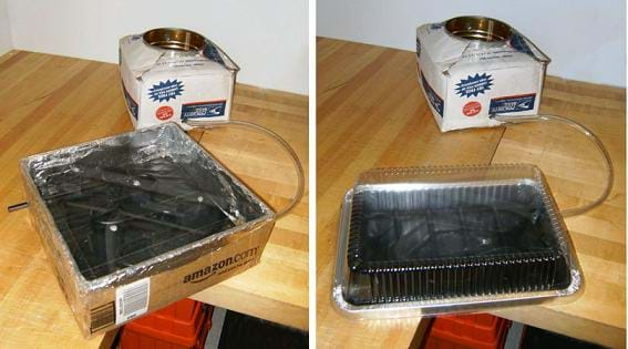 Two photos. Both show an insulated coffee can in a box connected by tubing to a foil and black box with a clear plastic cover.