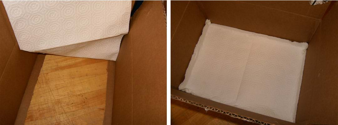 Two photos show (left) the paper towel sheet being laid inside the box and (right) attached securely to all four sides of the cooler box bottom.