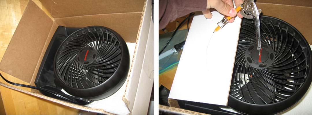 Two photos show (left) an electric fan placed inside the box, and (right) a hand holding a compass to draw curved pencil lines on a cardboard flap overlapping the fan in the box