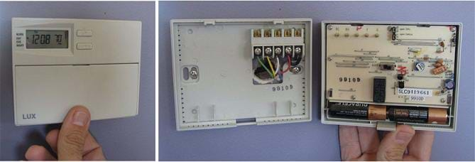 Two photos. (left) Plastic box mounted to a wall with digital readout of time and temperature. (right) Same plastic box opened to reveal circuitry, wires and batteries.